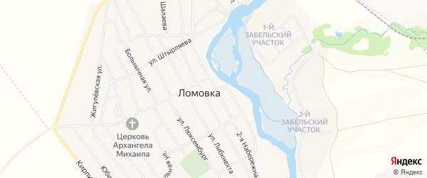 Карта села Ломовка в Башкортостане с улицами и номерами домов