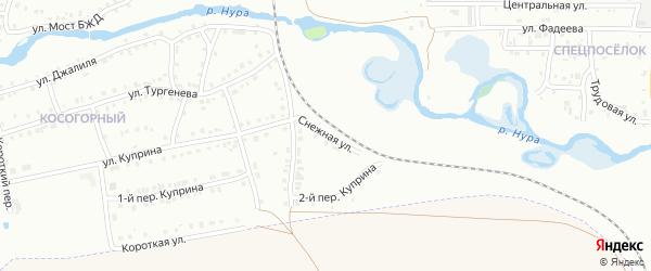 Снежная улица на карте Белорецка с номерами домов