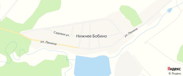 Карта села Нижнее Бобино в Башкортостане с улицами и номерами домов