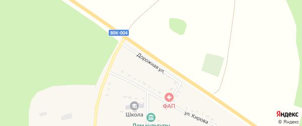 Дорожная улица на карте села Рухтино с номерами домов