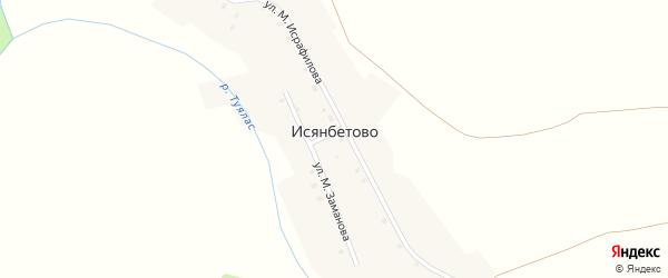 Улица М.Заманова на карте деревни Исянбетово с номерами домов