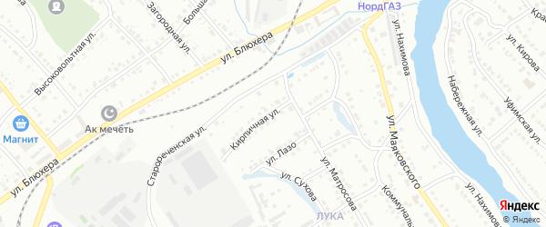Кирпичная улица на карте Белорецка с номерами домов