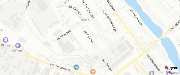 Улица Сухова на карте Белорецка с номерами домов