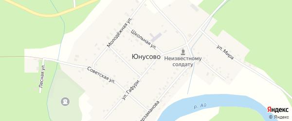 Школьная улица на карте деревни Юнусово с номерами домов