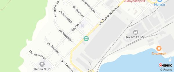 Улица Луначарского на карте Белорецка с номерами домов