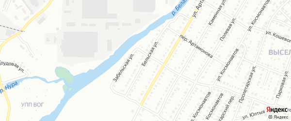 Бельская улица на карте Белорецка с номерами домов