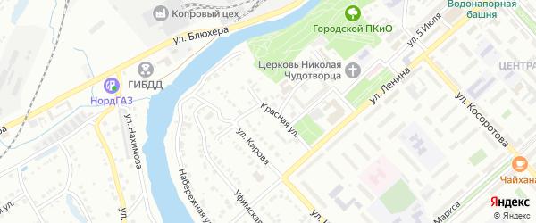 Пуховский переулок на карте Белорецка с номерами домов