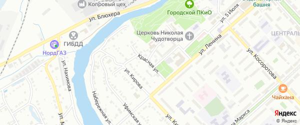 Красная улица на карте Белорецка с номерами домов