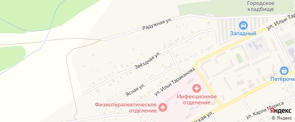 Звездная улица на карте Юрюзани с номерами домов