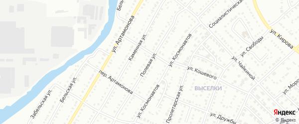 Полевая улица на карте Белорецка с номерами домов