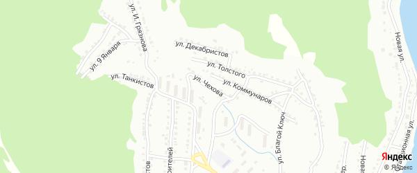 Улица Чехова на карте Белорецка с номерами домов