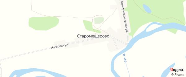 Карта деревни Старомещерово в Башкортостане с улицами и номерами домов