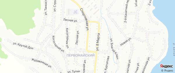 Спортивная улица на карте Белорецка с номерами домов