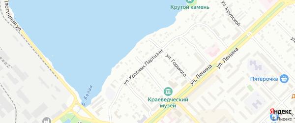 Улица Красных Партизан на карте Белорецка с номерами домов