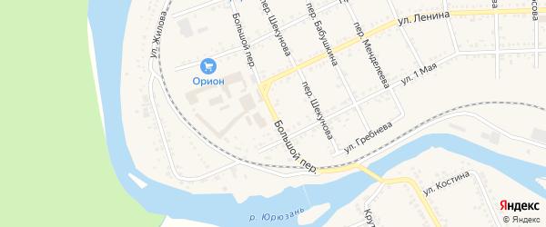 Большой переулок на карте Юрюзани с номерами домов