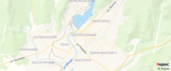 Карта Белорецка с районами, улицами и номерами домов