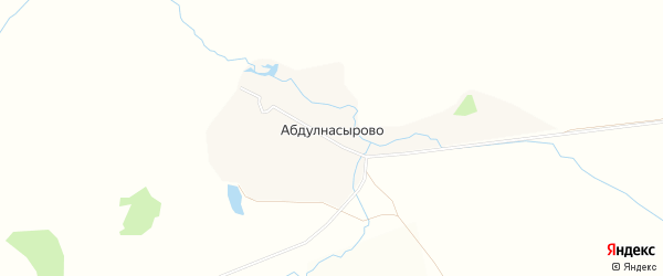 Карта деревни Абдулнасырово в Башкортостане с улицами и номерами домов