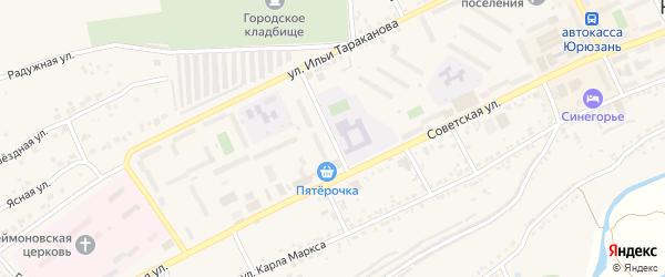 Переулок Чернышевского на карте Юрюзани с номерами домов