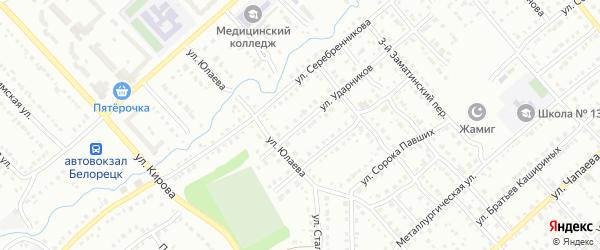 Улица Ударников на карте Белорецка с номерами домов