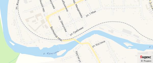 Улица Гребнева на карте Юрюзани с номерами домов