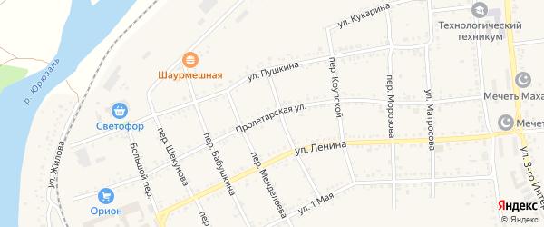 Пролетарская улица на карте Юрюзани с номерами домов