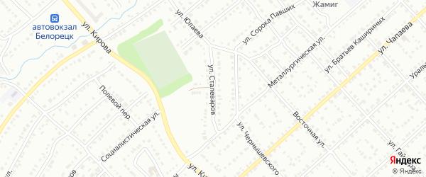 Улица Сталеваров на карте Белорецка с номерами домов