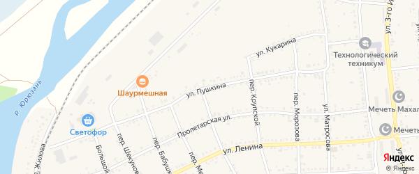 Улица Пушкина на карте Юрюзани с номерами домов