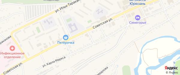 Переулок Достоевского на карте Юрюзани с номерами домов
