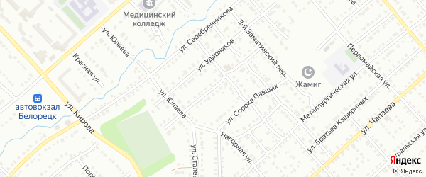 Улица Октябрьской Революции на карте Белорецка с номерами домов