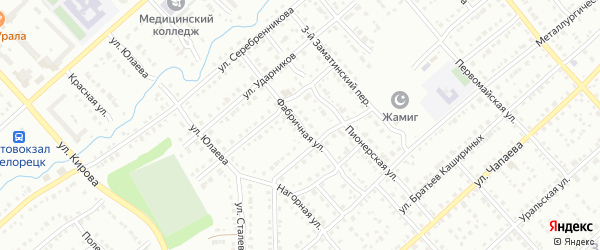 Фабричная улица на карте Белорецка с номерами домов