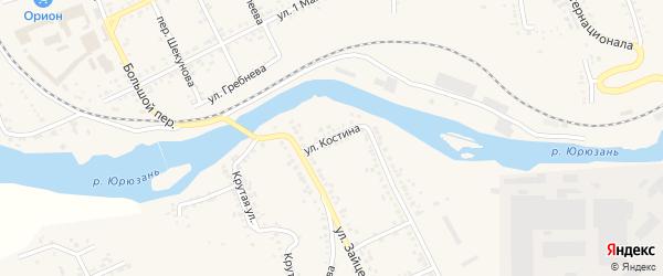 Улица Костина на карте Юрюзани с номерами домов