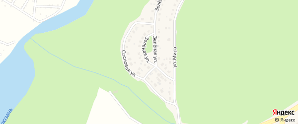 Зеленая улица на карте Трехгорного с номерами домов