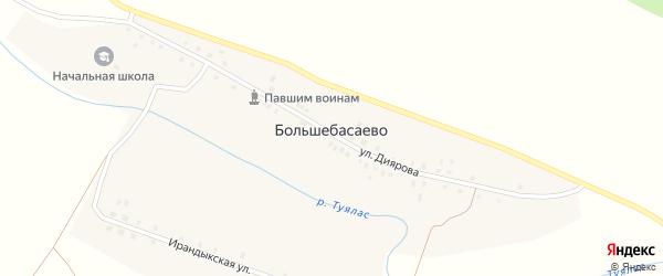 Улица К.Диярова на карте деревни Большебасаево с номерами домов