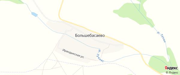 Карта деревни Большебасаево в Башкортостане с улицами и номерами домов