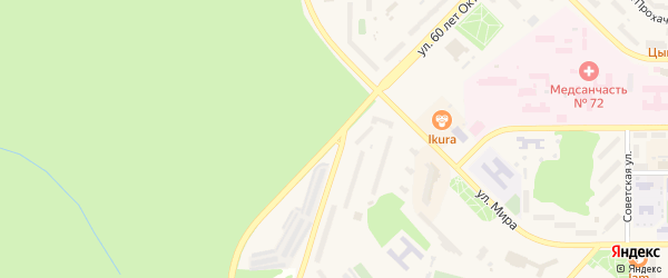 Улица 60 лет Октября на карте Трехгорного с номерами домов