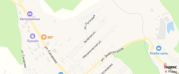 Зеленая улица на карте Юрюзани с номерами домов