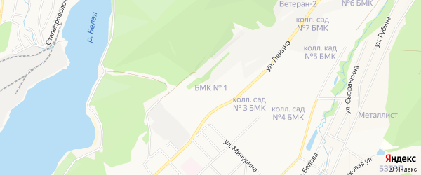 СНТ БМК N1 на карте БМК 1-й сада с номерами домов