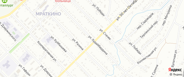 Улица Худайбердина на карте Белорецка с номерами домов