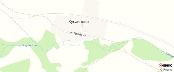 Улица Ирандык на карте деревни Хусаиново с номерами домов