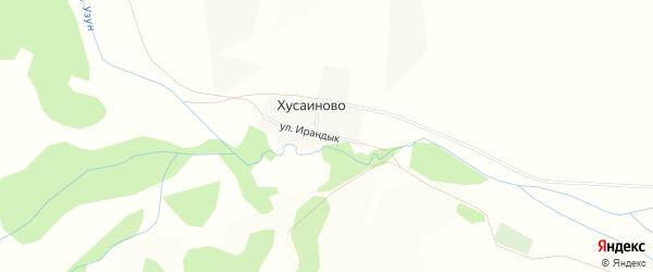Карта деревни Хусаиново в Башкортостане с улицами и номерами домов