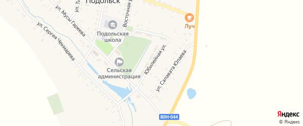 Юбилейная улица на карте села Подольска с номерами домов