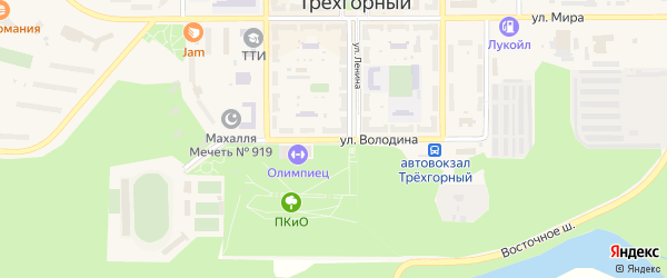 Улица Володина на карте Трехгорного с номерами домов