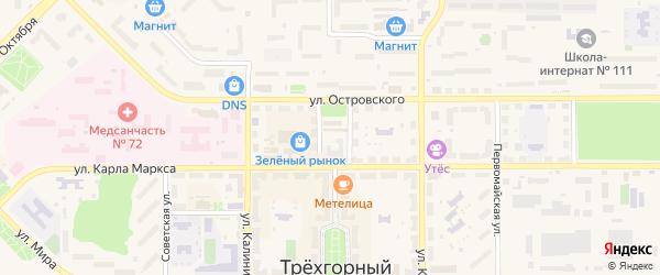 Красногорная улица на карте Трехгорного с номерами домов