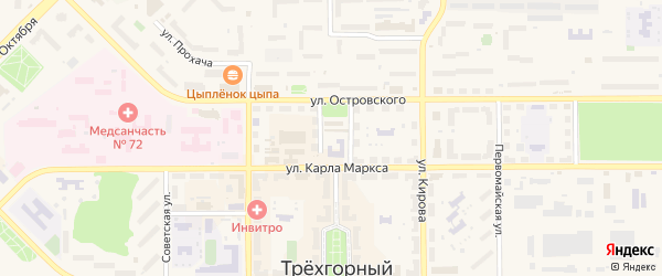 Улица Дом Оператора на карте Трехгорного с номерами домов