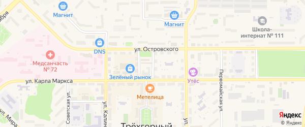 Школьный переулок на карте Трехгорного с номерами домов