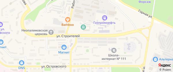 Улица Строителей на карте Трехгорного с номерами домов