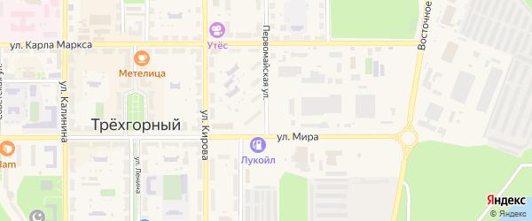 Первомайская улица на карте Трехгорного с номерами домов