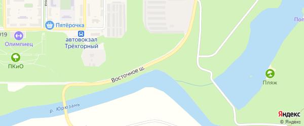 Восточное шоссе на карте Трехгорного с номерами домов