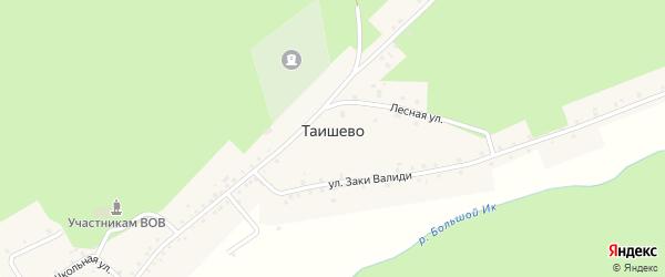 Лесная улица на карте деревни Таишево с номерами домов