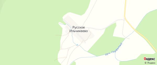 Карта деревни Русское Ильчикеево в Башкортостане с улицами и номерами домов